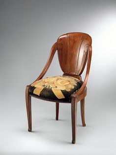 """1923 Louis Süe and André Mare Art Deco """"David-Weill"""" Chair (model no. 45), with """"Tulipes et Œillets"""" (Tulips and Carnations, possibly pattern no. 2513) Upholstery. Manufactured by Compagnie des Arts Français. Materials: Palisander, oak, wool"""