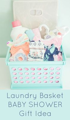 Laundry gift basket. Great idea for a baby shower gift! #babygifts #babygiftbaskets