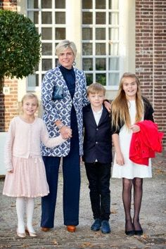 Dutch Princess Laurentien with Countess Leonore (L-R), Count Claus-Casimir and Countess Eloise attend the christening of Prince Floris' son at Palace het Loo in Apeldoorn, The Netherlands, 09.11.2014.