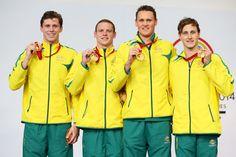 (L-R) Gold medallists Thomas Fraser-Holmes, Ned McKendry, David McKeon and Cameron McEvoy of Australia Bae, Commonwealth Games, Adidas Jacket, Athlete, David, Swimming, Australia, Gold