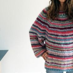 Gepard Freja multistripe sweater is an oversize mohair jumper with multicoloured stripes – buy your yarn and pattern at Uldstedet! Cute Sweaters, Girls Sweaters, Cardigans, Hand Knitting, Knitting Patterns, Men Sweater, Jumper, Boho Outfits, Girl Outfits