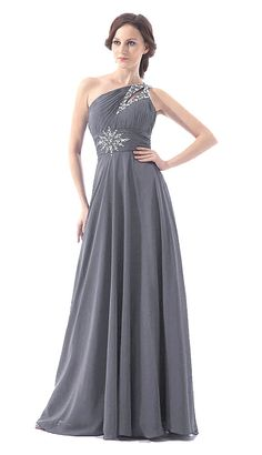 FairOnly One Shoulder Crystal Silk Chiffon Long Evening Formal Prom  Dress #FairOnly #OneShoulder #Formal