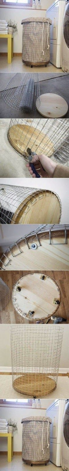 DIY Wire Laundry basket with removable liner/laundry bag.