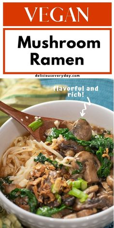 This Mushroom Ramen is flavorful and rich—and completely vegan! It's super simple to make, and makes for the perfect meal on a cold day. Vegetarian Soup, Vegan Soup, Vegetarian Recipes Dinner, Vegan Dinners, Soup Recipes, Vegan Recipes, Easy Vegan Dinner, Stuffed Mushrooms, Vegane Rezepte