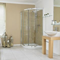 Neutral bathroom with curved corner shower cubicle Neutral Bathroom, Classic Bathroom, Modern Bathroom, Large Bathrooms, Amazing Bathrooms, Tuscan Bathroom, Bathroom Pictures, Bathroom Ideas, Shower Ideas