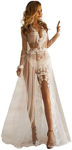 BathGown Leaf Flower Lace Wedding Robe, Tulle White Sheer Lingerie Robe, Floor Length Photo Shoot Bridal Gown at Amazon Women's Clothing store Sheer Lingerie, Wedding Lingerie, Lingerie Set, Halloween Bride Costumes, White Wedding Dresses, Lace Wedding, Bridesmaid Robes, Ruched Dress, Portrait