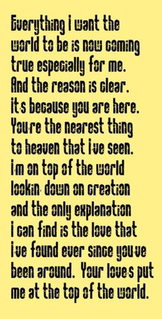 The Carpenters - Top Of The World - song lyrics, song quotes, music lyrics, music quotes.  Songs.