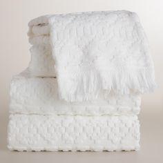 White Sculpted Aztec Bath Towel Collection   World Market