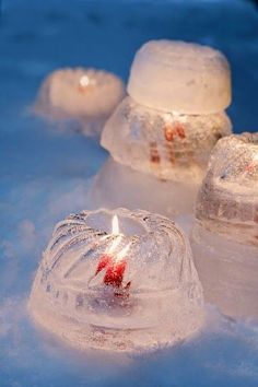 "~ ice candle holders formed in Bundt cake molds (berries, herbs or flowers can be ""frozen in,"" too) Decoration Christmas, Noel Christmas, Christmas And New Year, All Things Christmas, Winter Christmas, Winter Party Decorations, Father Christmas, Christmas Wreaths, Deco Table Noel"