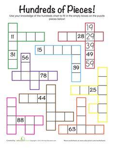 Navigating Numbers 1-100   Printable Workbook   Education.com