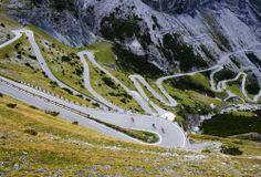 Switzerland/Italy  - the 60 hairpin turns on the Davos to Stelvio via Bormio road