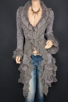 Trendy Ruffles Lace Tiered Hem Button Up Cardigan Long Sweater Jacket Lace Cardigan, Sweater Jacket, Boho Fashion, Fashion Outfits, Womens Fashion, Pretty Outfits, Cool Outfits, Long Sweaters, Belle Photo