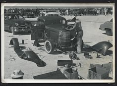 Lou Bingham getting his coupe ready for the run on Bonneville in after towing it from San Diego Pith Helmet, Traditional Hot Rod, Automobile Industry, Hot Rods, Old School, Classic Cars, Motorcycle, Vehicles, Helmets