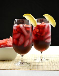 Strawberry-Watermelon Red Wine Sangria    Serves 6    1 1/2 cups cabernet sauvignon (I used one on the sweeter side)  2 cups strawberry-watermelon sparkling water  1/4 cup strawberry vodka  1 tablespoon lemon juice  chopped strawberries and watermelon (optional)    Stir all ingredients together lightly. Refrigerate for at least 30 minutes. Serve over ice, with chopped fruit, if desired.