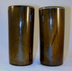Beautiful Pair of Cylindrical Vases By the Van Briggle Pottery Beautiful Glazed Brown Coloring