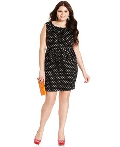 Love Squared Plus Size Dress Sleeveless Polka Dot Illusion Belted