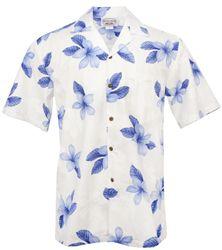 Hibiscus Shadow Mens Hawaiian Aloha Shirt - Blue