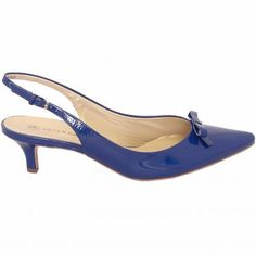 Peter Kaiser Rosette kitten heel slingback shoes in royal patent Kitten Heel Slingback Shoes, Slingback Sandal, Pumps Heels, Kitten Heels, Shoes Uk, Me Too Shoes, Peter Kaiser, Blue Heels, Beautiful Shoes
