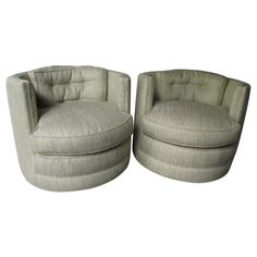 pair swivel barrel club chairs mid century white naugahyde milo