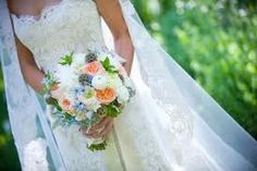 blue and coral wedding bouquet - Google Search