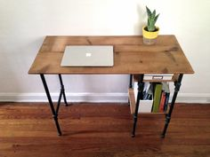 The Armory Desk is made from reclaimed pine and industrial black steel piping. Measurements: Select measurements from drop down menu to purchase.