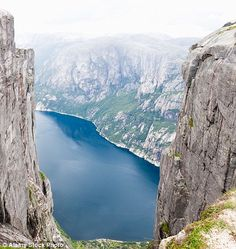 A spectacular view of Lysefjord from mountain Kjerag...