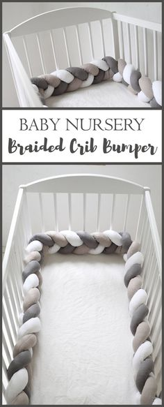 This braided crib bumper is so precious! I'm in love with this, just love this gray and white color mix! Perfect for a gender neutral nursery. #braidedcribbumper #babynursery #braidedbedbumper #baby #babygirlnursery #cribbumper #beautifulbabynursery #ad