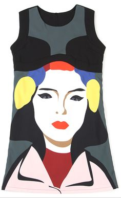 Female Face Print Scoop Neck Color Block Sleeveless Casual Dress  #face print  #dress #art #pop art I WANT SO BAD