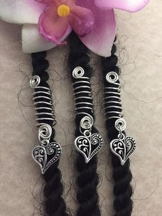 Loc Jewelry Silver Coils w/Filigree Heart Set of 3 Dreadlock Cuffs Hair Jewelry Braid Dreads Locs Sisterlocs Dread Beads Heart Braid Jewelry Dreadlock Jewelry, Loc Jewelry, Silver Jewelry, Hair Jewelry For Braids, Jewellery, Dreadlock Accessories, Natural Hair Accessories, Heart Braid, Dread Beads