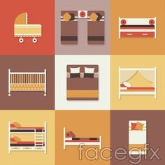 Furniture bed icon vector