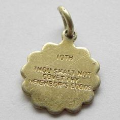 Tenth commandment vintage charm with Thou shalt not covert thy neighbor s goods inscribed on Religious charm from the 10 commandments