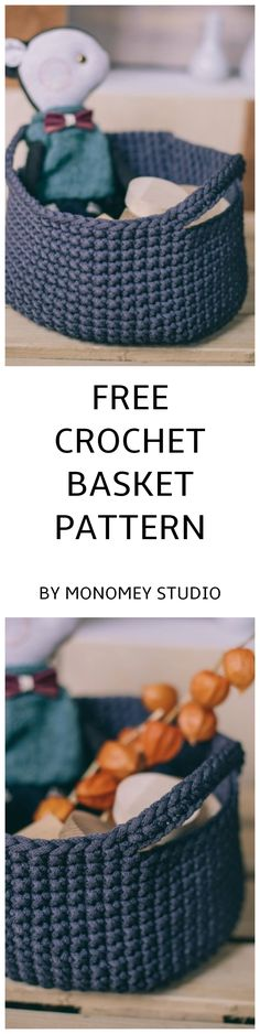 FREE PATTERN for a crochet basket with handles! Crochet handmade basket is perfect as storage box or storage bin. Big storage basket is made of gray. Diy Crochet Basket, Crochet Basket Pattern, Crochet Patterns, Free Crochet, Knit Crochet, Storage Baskets, Free Pattern, Knitting, Projects