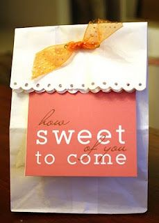 """free printable """"how sweet of you to come"""" tags for favor bags with snickerdoodle recipe."""