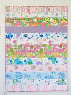 vintage sheet strip quilt