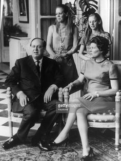 British Conservative politician and newly-appointed Ambassador to France Christopher Soames (1920 - 1987) with his wife Mary and daughters Charlotte and Emma at the British Embassy in Paris, 23rd September 1968.
