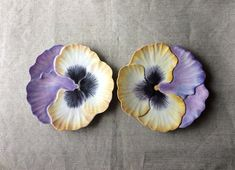 1bfbbd82e2 A Pair of MidCentury Plates- French Art Pottery -Hippie Chic- Marcel  Guillot Design- Flower Power