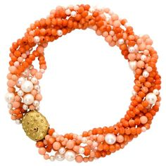 Pearl Sapphire Coral Gold Necklace   From a unique collection of vintage multi-strand necklaces at https://www.1stdibs.com/jewelry/necklaces/multi-strand-necklaces/