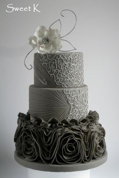 Silver & Charcoal Scroll Patterned Wedding Cake Wedding Inspiration for brides and groom across the globe, plan online now www.destinationweddingcollective.com