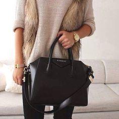 fur vest neutral outfit- Givenchy black bag