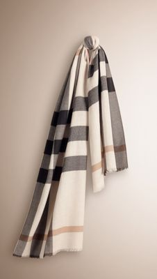Burberry Ivory Check Check Cashmere Scarf - Made at a 200-year-old mill in the Scottish countryside, a lightweight cashmere scarf in check. Discover the scarves collection at Burberry.com