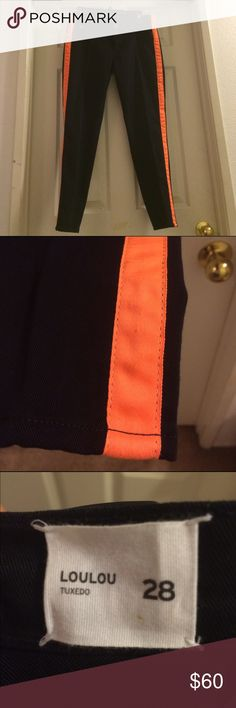 Hudson Jeans Loulou Pants NWT. Black pants with orange stripe on the sides. Zip fly with button closure. Has back pockets. Faux front pockets. No trades. Offers and questions are welcome. Hudson Jeans Jeans