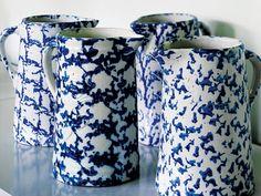 Blue and white spongeware pitchers.