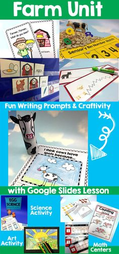 This unit is perfect for back to school or spring and introduces many kindergarten common core concepts. Literacy, math, and science activities all ready for you in this 188 page packet. Teach you students how to use google slides with included activity! Fun Writing Prompts, Cool Writing, Teaching Main Idea, Creative Teaching, Kindergarten Math, Elementary Math, Special Education Math, Farm Unit, Classroom Resources