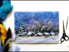 Картины из шерсти, мастер-класс - зимний пейзаж - YouTube
