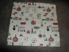Vtg Mid Century Tablecloth Atomic Square 43x43 by ThenForNow, $34.99
