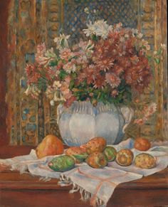 Pierre Auguste Renoir Still life with flowers and prickly pears,