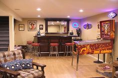 home bar designs and layouts | Basement Bar Design Ideas Pinball Machine