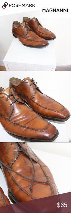 341ca2d2c5c28 EUC Mens MAGNANNI Italian Loafers Leather Cognac MAGNANNI Italian leather  Loafers. Size 10. Patinaed