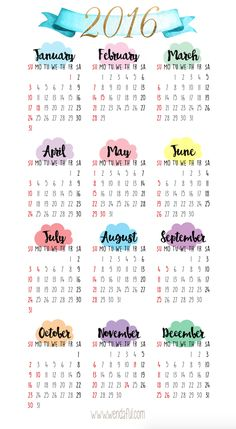 Free 2016 Yearly Calendar Printable | Wendaful Designs