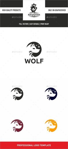 Wolf Logo by naqqosh This logo design for all creative business. Logo Template Features AI and EPS CMYK 100 Scalable Vector Files Easy to edit colo